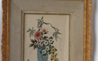"""Asian school. """"Vase of flowers."""" Silk painting signed lower left. 40.5 x 30."""