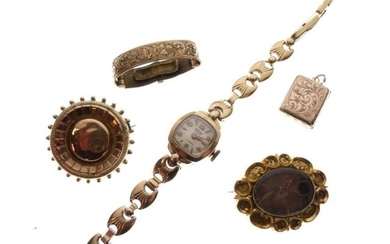 Assorted gold and yellow metal to include; lady's wristwatch...