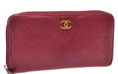 Authentic Chanel Lamb Skin Leather Camellia Long Wallet