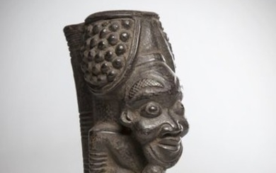 BAMILEKE, Cameroon. Important ceremonial clay pipe representing the...