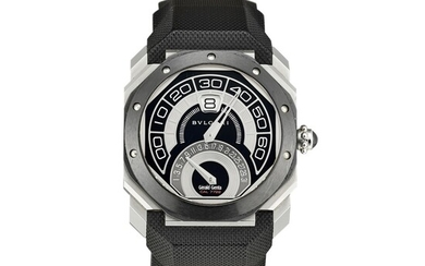 BULGARI | GÉRALD GENTA OCTO BI-RETRO, REFERENCE BG043BSCVABR A BLACK CERAMIC AND STAINLESS STEEL JUMPING HOUR WRISTWATCH WITH RETROGRADE MINUTES AND DATE, CIRCA 2013