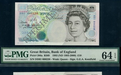 Bank of England, Kentfield, Salmon, a tri of first runs with serial number 000238 (3), (EPM B36...