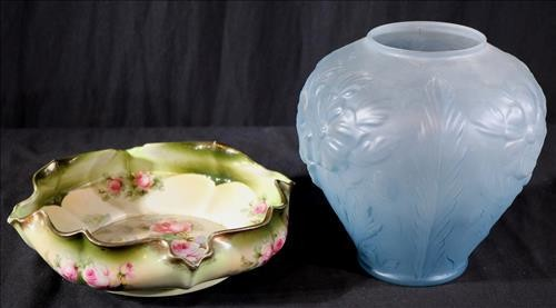 Blue vase and hand painted bowl