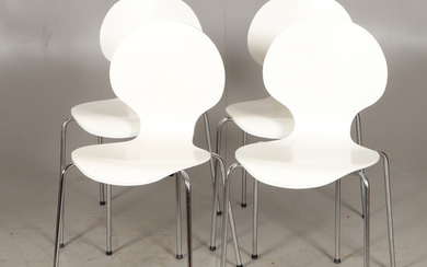 CHAIRS, 4 pieces, white painted / chromed metal, 1900s / 2000s.