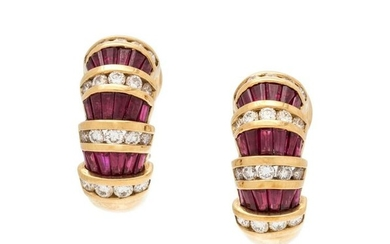 CHARLES KRYPELL, RUBY AND DIAMOND EARCLIPS
