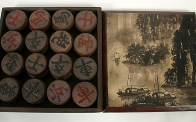 "CHINESE CARVED WOOD CHESS SET H 2.5"" W 12"" L 11.5"""