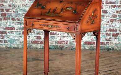 CHINOISERIE DECORATED SLANT FRONT WRINTING DESK