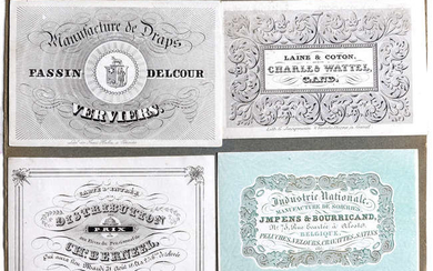 Cartes Porcelaines.- A group of 56 trade and visiting cards printed on glazed card, [c. 1850-60]