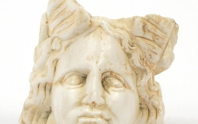 Carved white marble bust of a gentleman, 9.5cm high
