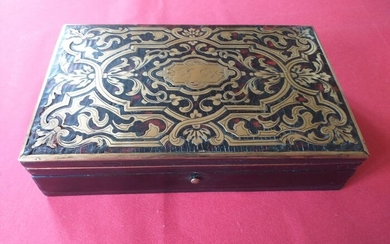 Casket, with Boulle marquetry games and (1) - Napoleon III - Brass, Ebony, Pear, Rosewood - Mid 19th century