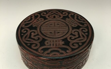 Chinese Lacquare Ware Round Box and Cover, Qianlong