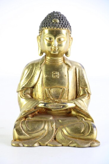 Chinese gilt bronze figure of buddha Shakyamuni seated on lotus pedestal, mark to back, H19cm