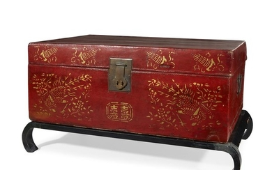 Chinese gilt decorated red lacquered storage box on later...