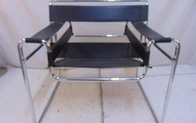 Chrome & leather Wassily chair, black leather, chrome