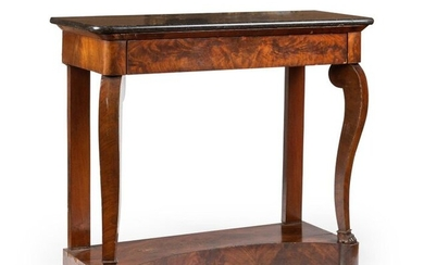 Mahogany and mahogany veneer console opening to a belt drawer,...