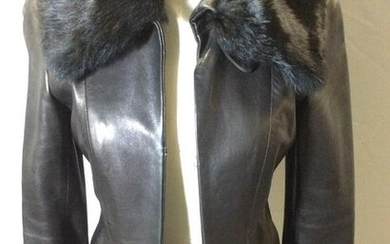 DKNY BLK LEATHER Jacket, Rabbit Fur Collar
