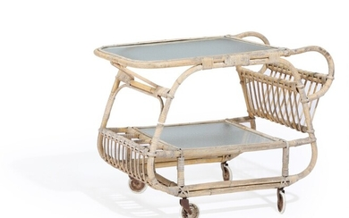 NOT SOLD. Danish furniture design: A bamboo and rattan serving cart, underlying shelf and top...