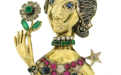 Diamond Ruby Sapphire Emerald Gold WOMAN with FLOWER