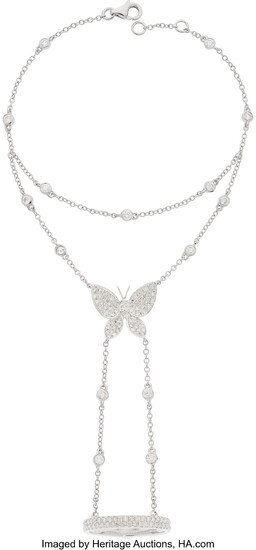 Diamond, White Gold Bracelet The butterfly ring-wristlet features full-cut...
