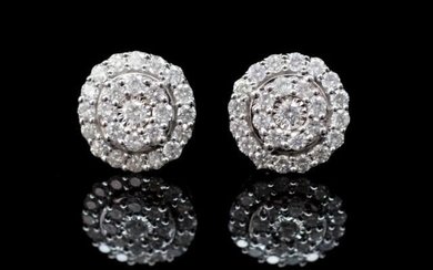 Diamond and 9ct white gold halo stud earrings with screw bac...