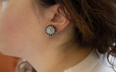 Diamonds and Rubies, 9k Rose Gold and Silver Retro Stud