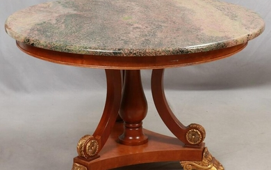EMPIRE STYLE FOYER TABLE, GRANITE TOP, MAHOGANY