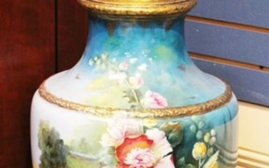 EUROPEAN 19TH C. PAINTED URN, SIGNED
