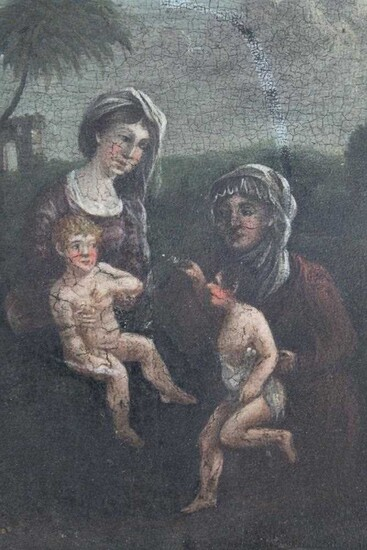 Early 18th century Continental School, oil on panel, The Virgin Mary with Jesus and Elizabeth with the infant St. John in a landscape, unframed, 15 x 14cm