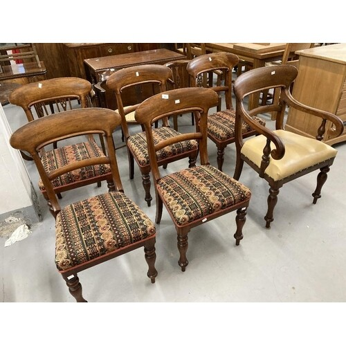 Early 19th cent. Mahogany bar back set of six dining chairs,...
