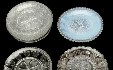 Eight American Lacy Glass Heart Pattern Cup Plates