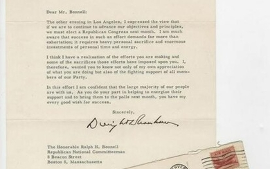 "Eisenhower TLS, ""we must elect a Republican"