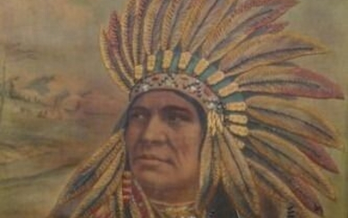 Embroidery, Painting, Schaub of Wolf Native American Portrait - American