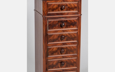 Empire Style Flame Mahogany Chamber Pot Cabinet and Chest of Drawers