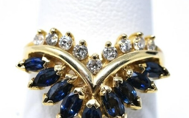 Estate 14kt Yellow Gold Diamond & Sapphire Ring