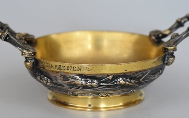 F. Barbedienne - Cup - Bronze double patina, gold and silver - Late 19th century