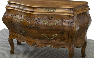 FRENCH LOUIS XV STYLE WALNUT BOMBE COMMODE
