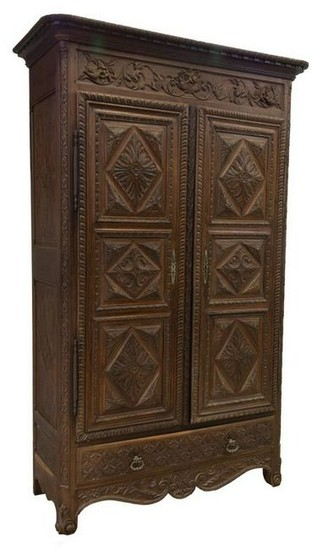 FRENCH WELL-CARVED OAK DOUBLE-DOOR ARMOIRE