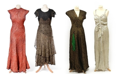 Four Circa 1930's Full Length Evening Dresses, comprising a red/gold...