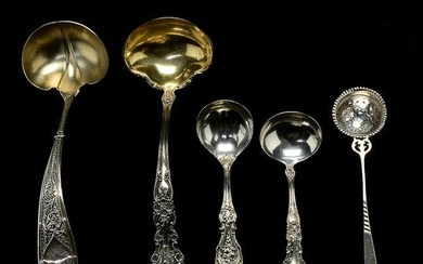 Four Gorham Sterling Silver Ladles and a Sterling