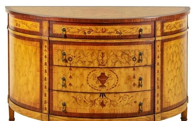 French Country Style Hand Painted Demilune Dresser