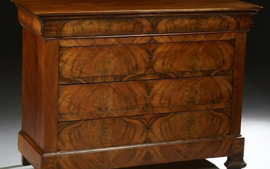French Provincial Louis Philippe Carved Walnut Commode