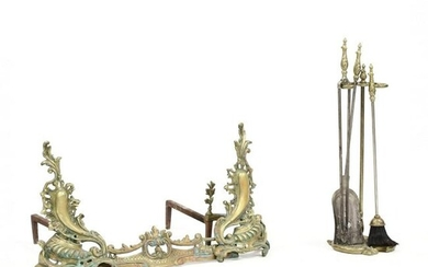 French Rococo Style Brass Assembled Fireplace Set