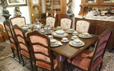 French dining table & set of 8 chairs