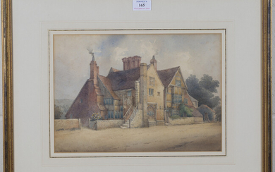 George de Paris - View of Wings Place, Ditchling, Anne of Cleve's House, watercolour, signed an