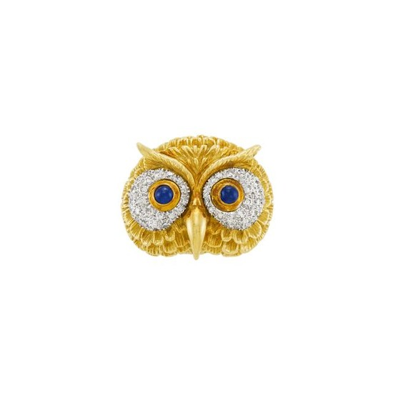 Gold, Platinum, Cabochon Sapphire and Diamond Owl Brooch/Ring, David Webb