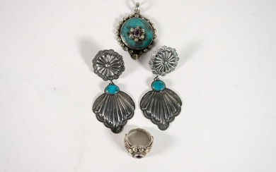 Group, Turquoise 925 Pendant w/Ring Earrings