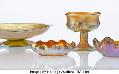 Group of Four Tiffany Studios Favrile Glass Table Articles (early 20th century)