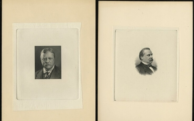 Group of Steel Engraved Vignettes. Grover Cleveland, Teddy Roosevelt, Chief Justice Melville W....