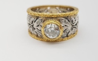 HRD Certificate - 18 kt. Yellow gold - Ring - 1.05 ct Diamond - Diamonds