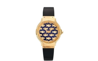 HUBLOT | REFERENCE 1392.3 A LIMITED EDITION YELLOW GOLD WRISTWATCH WITH CHAMPLEVÉ ENAMEL DIAL, CIRCA 1970